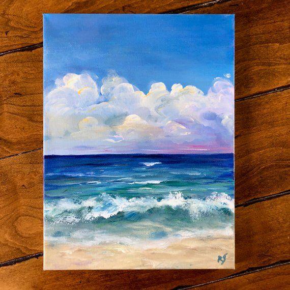 Ocean Painting Beach Painting Beach Decor Florida Painting Etsy Ocean Painting Easy Landscape Paintings Landscape Paintings Acrylic