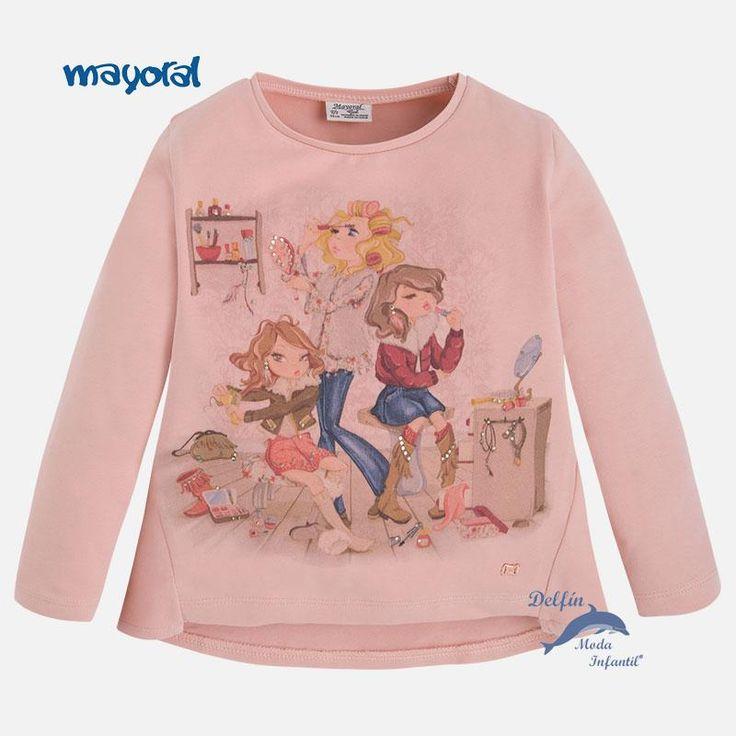 Camiseta de niña MAYORAL manga larga tres niñas color rosa