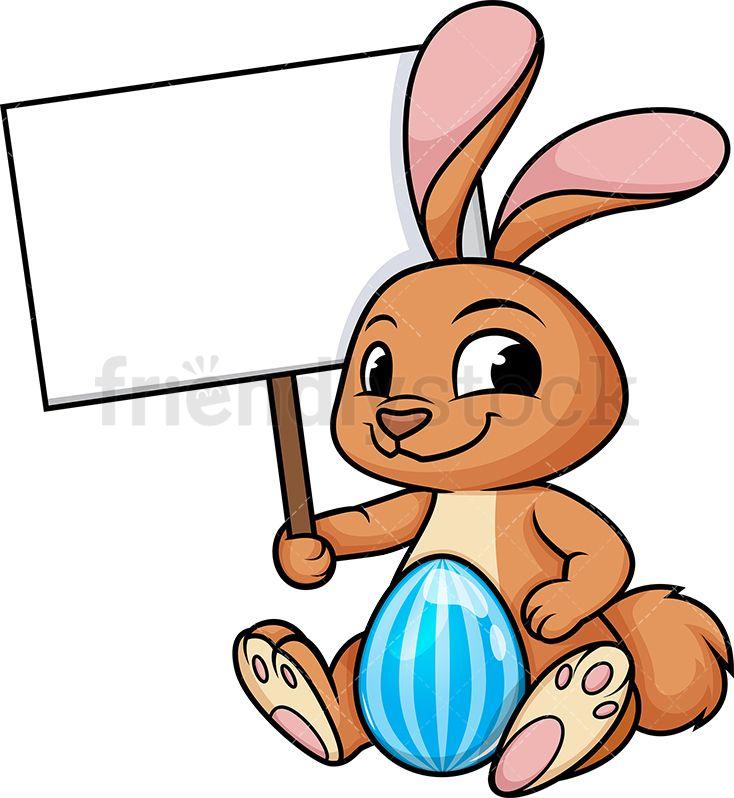 Easter Bunny Holding Blank Sign Blank Sign Cartoon Bunny