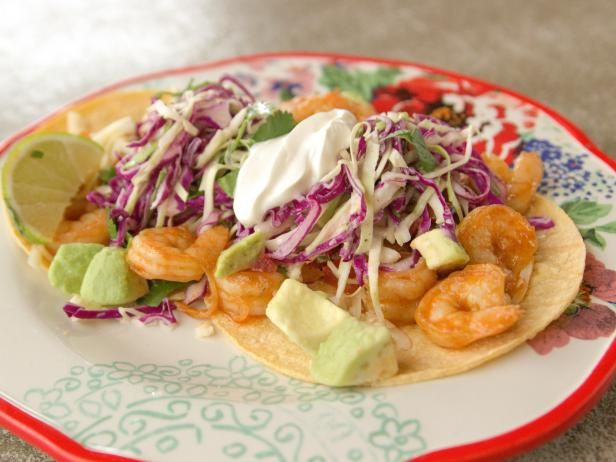 Get Shrimp Tacos Recipe from Food Network  Saving just for the SLAW recipe