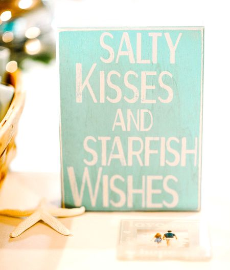 """Salty kisses and starfish wishes"" sign - perfect for a beach wedding {Pasha Belman Photography}"