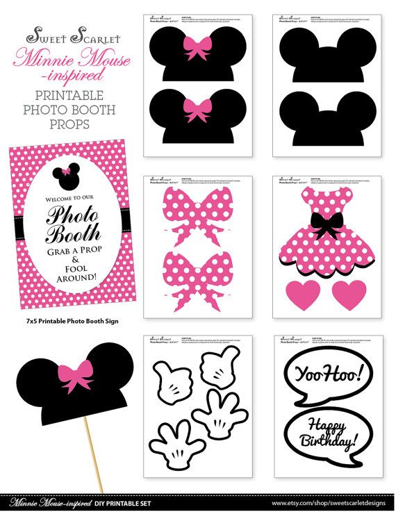 MINNIE Mouse Photo Booth apoyos en color de por SweetScarletDesigns                                                                                                                                                                                 Más