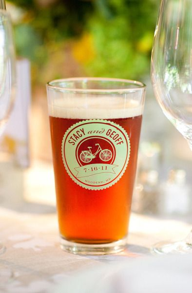 Personalized pint glasses for the reception/rehearsal dinner. @Jane Sherman we MUST do this at our wedding!