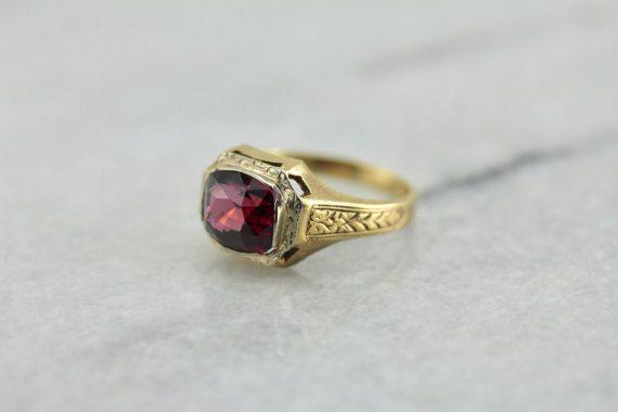 Awesome 3.5 Ct Rhodolite Garnet 10 k Yellow Gold Engagement & Wedding Men Ring #uniquegemstone17