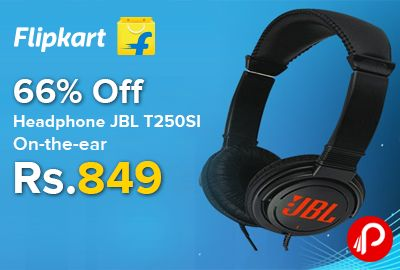 Flipkart is offering 66% off on JBL T250SI On-the-ear #Headphone Just at Rs.849. Over-the-head, Wired Connectivity, Supra-aural Headphone. Featuring high-performance pure bass drivers, this pair of on-the-ear headphones let you enjoy watching a movie or listening to your favorite music tracks with crisp, clear sounds.  http://www.paisebachaoindia.com/headphone-jbl-t250si-on-the-ear-66-off-just-at-rs-849-flipkart/