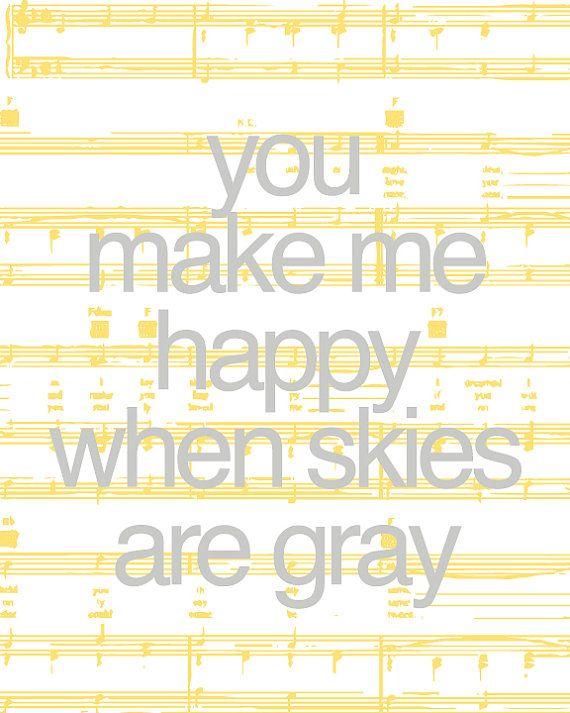 You Are My Sunshine Song Lyric Art Print / Sheet Music Personalized Art Poster Digital Print / 8x10