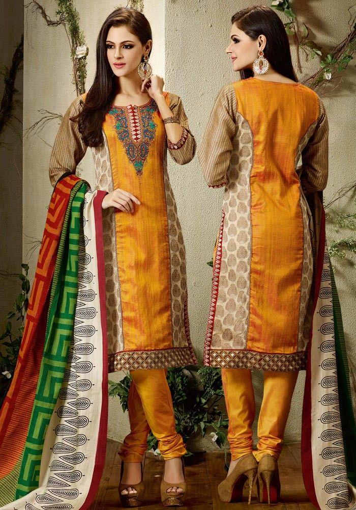 Orange Raw Silk Churidar Kameez with Dupatta