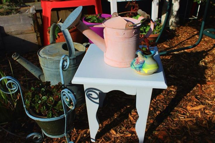 Small pre-loved wooden pale grey stool. $12 SOLD