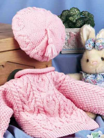 We love the Sweetheart Sweater Set!  Your little sweetie will stay warm in this sweater and cap set.  Download the pattern at freepatterns.com.