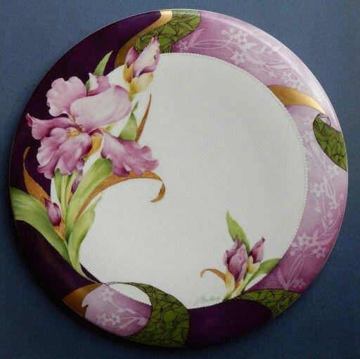 "Artist Judith Standing. Iris Study incorporating multiple techniques on an 11"" bone china platter."