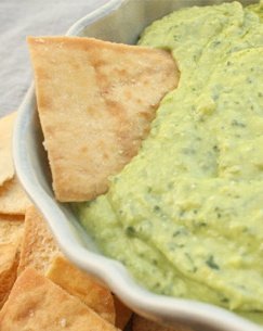 Pesto Hummus (Recipe via PureWow) - healthy spread that combines two of my favorite dips!
