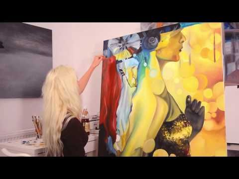 """Step by step, speed oil painting of """"Games of the Soul"""" artwork by Oana ..."""