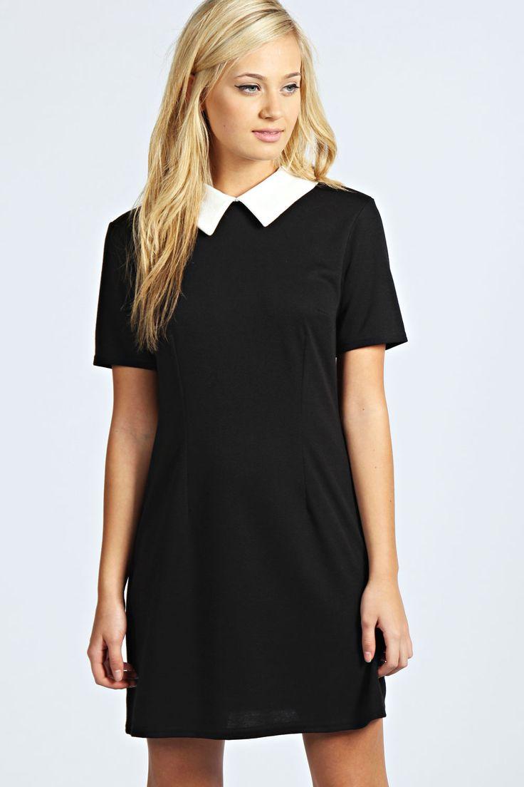Robin Contrast Collar Dress at boohoo.com