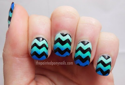 chevron gradient nail art design (by the painted pony)
