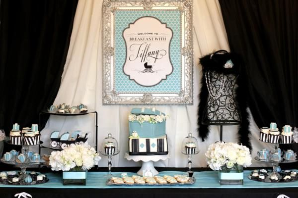 tiffany baby shower dessert buffet | Breakfast {With} At Tiffany's Baby Shower Decorations Planning Ideas