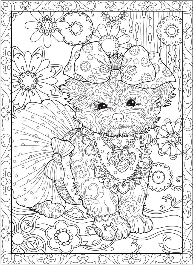Creative Haven PLAYFUL PUPPIES Coloring Book by: Marjorie Sarnat Welcome to Dover Publications COLORING PAGE 2/5