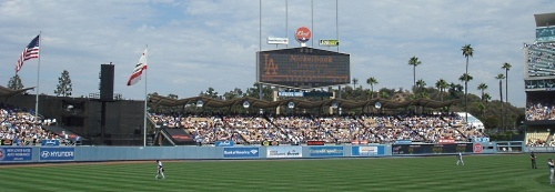 Dodger Stadium located in Chavez Ravine in Los Angeles, CA. You have GOT TO try a Dodger Dog to really experience Dodger Stadium!