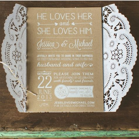 YES, these will be our Wedding invitations, maybe throw in a sunflower design too. Lacy Brown & White Invitations