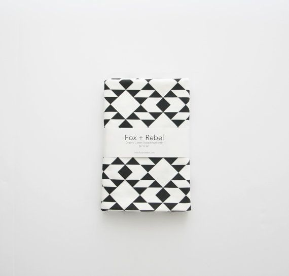 Organic Cotton Baby Blanket Modern Navajo Inspired Geometric Black and White Triangles - READY TO SHIP