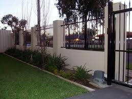 rendered fence - With automatic gate