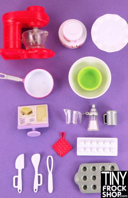 I love to bake but it is really no fun unless you have the right equipment. This set includes a bakery recipe stand, large purple pot, cake stand, 2 tiered cake, industrial mixer with push button acti