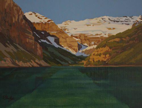 "WJ Bradley LAKE LOUISE, SUMMER / Canada House Gallery - oil, board 12"" x 16"""