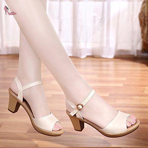 La mode des femmes d'été confortables sandales hauts talons,jaune 35 - Chaussures rugai ue (*Partner-Link)