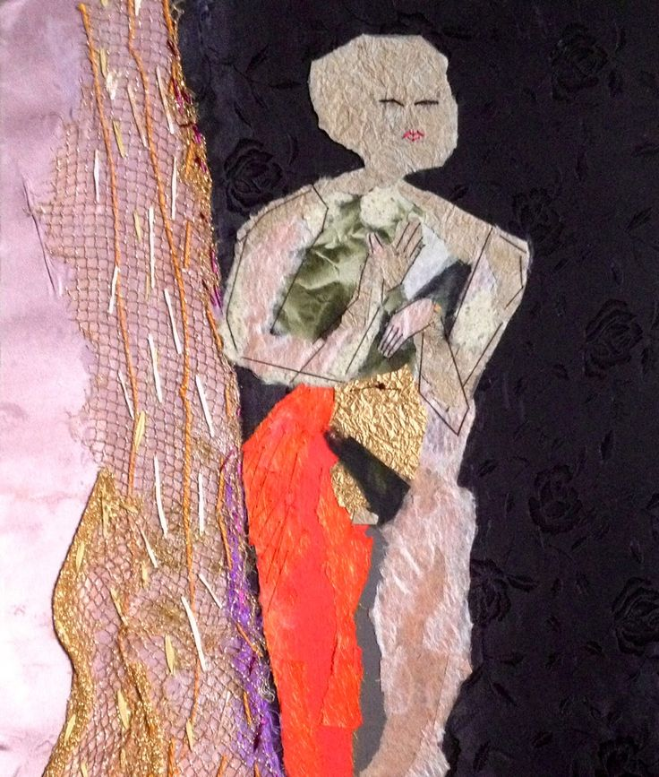 Nude Mixed Media Collage, Stitch