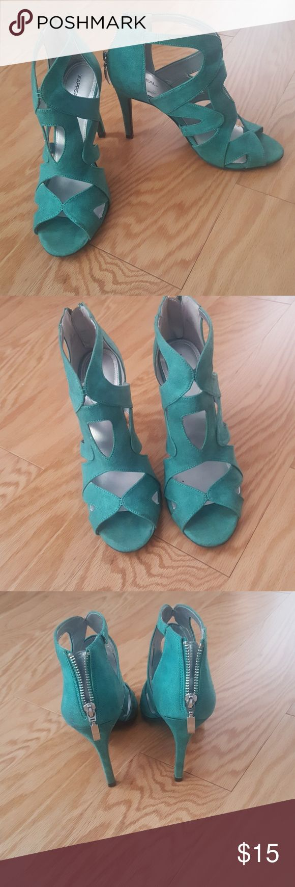 X.Appeal Teal Women's Suede Caged Heels A caged heel in a soft suede is a must have this spring. This as classic as it is versatile with its walkable heel. Adds a pop of color to any outfit X-Appeal Shoes Heels