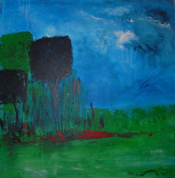 Square Trees Acrylic 80x80 canvas Lynne Bishop