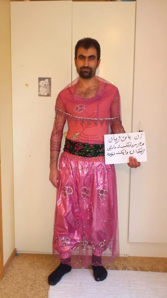 Men in Iran dress in drag for gender equality. The campaigns tagline reads: Being a woman is not a way for humiliation or punishment.