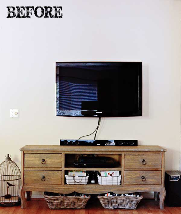 TidbitsTwine TV Wall BEFORE1 TV Gallery Wall Reveal {From Drab to Fab!}