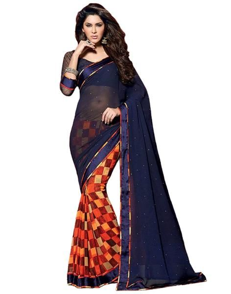 Fancy Designer Store Blue Designer Georgette Printed Saree