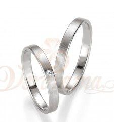 Βέρες γάμου λευκόχρυσες με διαμάντι breuning 4411