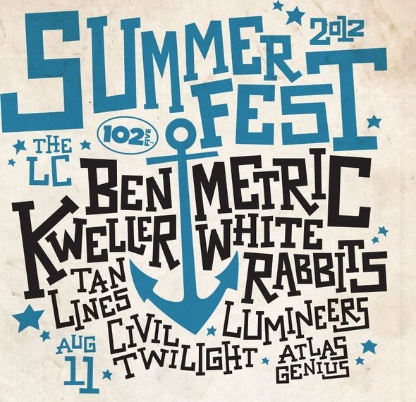 The 102.5 Summerfest lineup is looking pretty stacked with Metric, Ben Kweller, White Rabbits, Tanlines, Lumineers, Civil Twilight and Atlas Genius coming to LC Pavilion on August 11. Tickets are on sale for $10.25 (get it?).