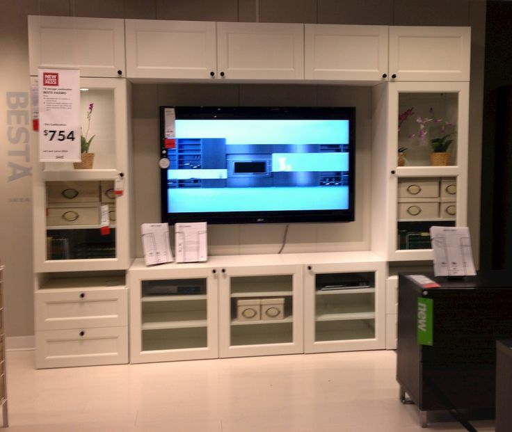 Furniture. White Besta Entertainment Center Ikea With Glass Cabinet Door. Terrific Entertainment Centers Ikea Designs