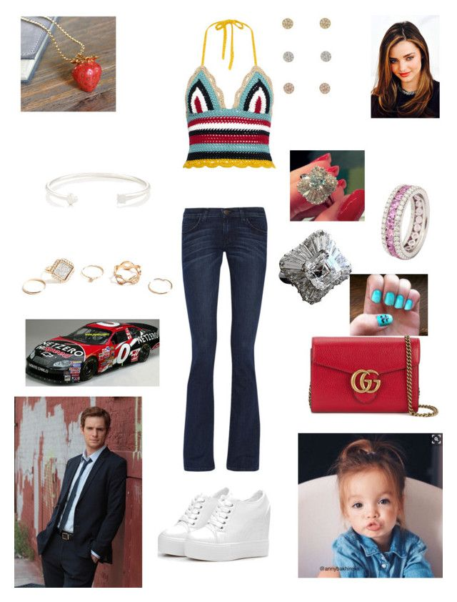 """""""Food City 500, Bristol Speedway, Tennessee"""" by ejmfashionista on Polyvore featuring Current/Elliott, RED Valentino, Gucci, Pamela Love, Undercover, Nordstrom Rack, GUESS, Bulgari and Kerr®"""