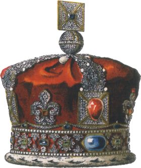Illustration of the Imperial State Crown used before 1937.  This crown, which was used by Queen Victoria, now exists as a shell, with its stones removed.