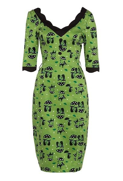 Katniss Pencil Dress, Grønn/sort