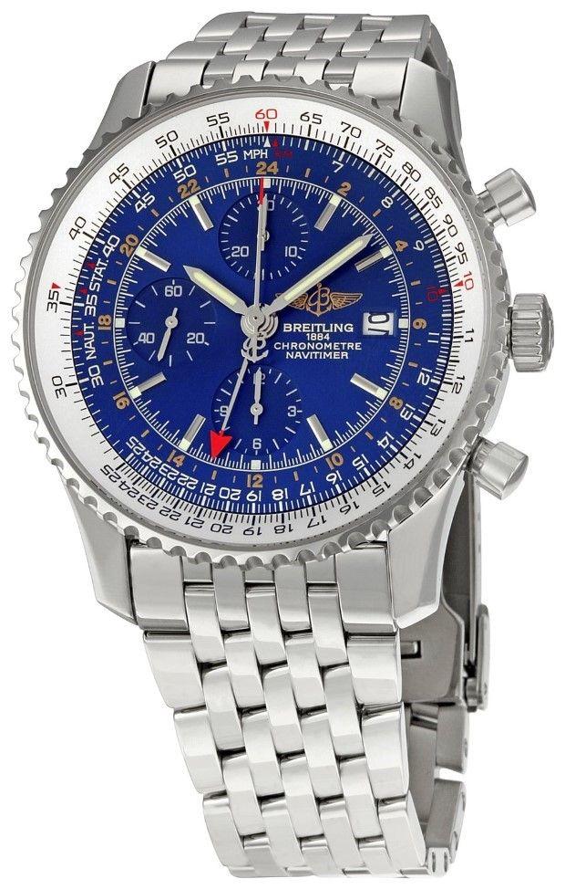 men watches Breitling Men's BTA2432212-C561SS Navitimer World Chronograph Watch Top watchesBreitling