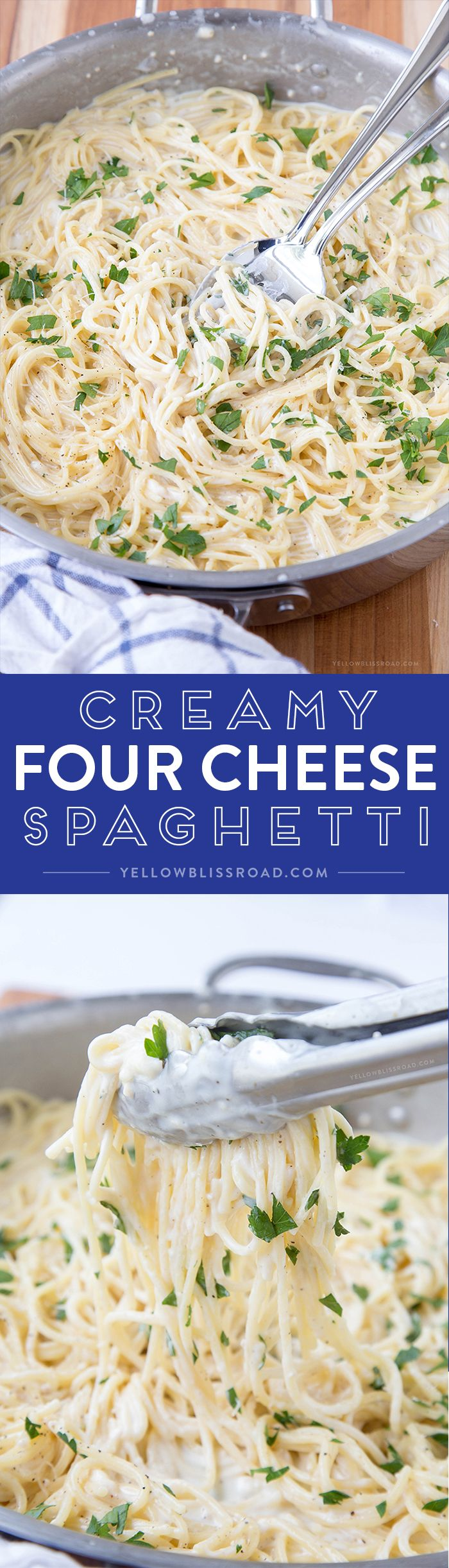 Creamy Four Cheese Spaghetti that's ready in 20 minutes! This is a fantastic and easy meal perfect for busy weeknights! (Bake Pasta Meatless)