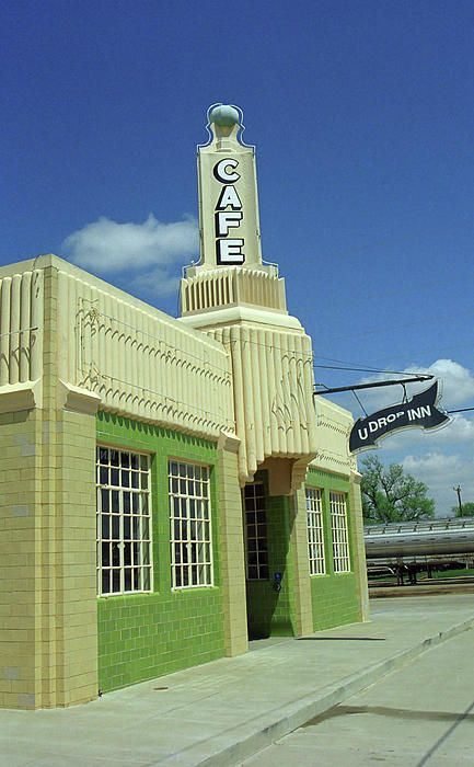 Route 66 - Conoco Tower Station. Art Deco Conoco Station in Shamrock, Texas, on Rt. 66. Found on an empty Main Street, also contains the U Drop Inn Restaurant. @designerwallace