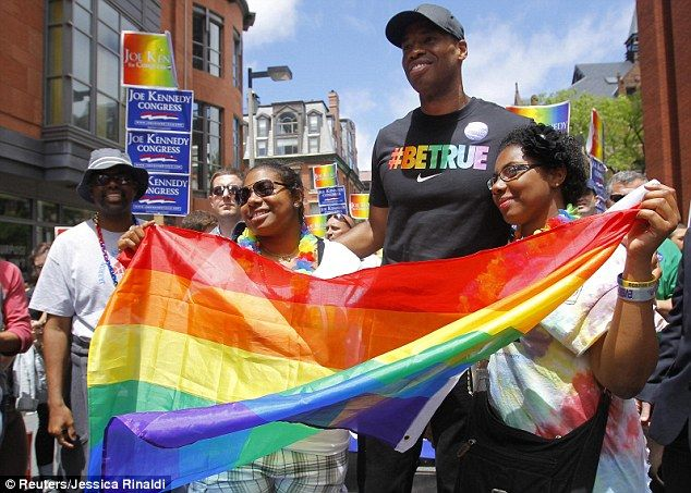 Jason Collins, who played most recently for the Washington Wizards, marched in the 2013 Boston Pride Parade a month and a half after coming out as gay.