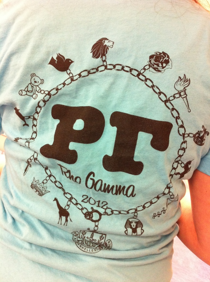 Great Panhellenic shirt--each sorority's symbol is a charm on a charm bracelet! Love this idea! shame ycp hasn't adopted the rho gamma, or pi chi thing. because thats super cute in the middle! but it would make for a nice shirt for everyone in greek life to own.
