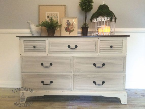 SOLD Cream & Gray Painted Dresser with by VintageRefinedDecor
