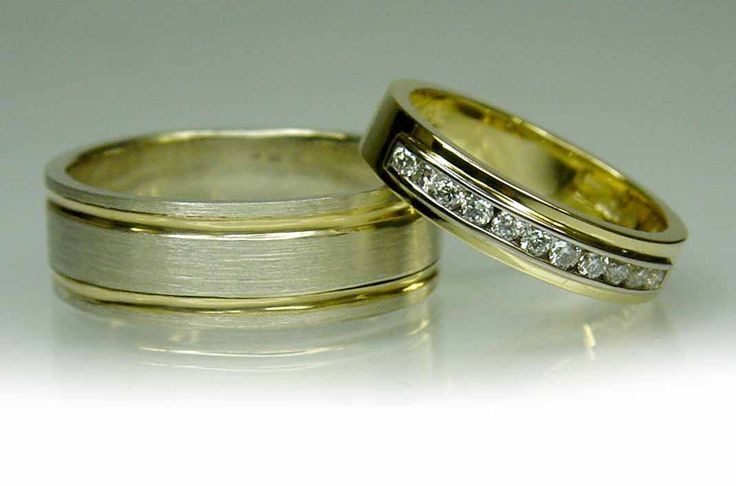Chibnalls custom made wedding rings in yellow and white gold.