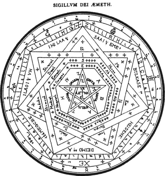 "Sigillum Dei Emeth. ""Mysteriorum Libri Quinque or, Five Books of Mystical Exercises"" of Dr. John Dee. An Angelic Revelation of Kabbalistic Magic and other Mysteries Occult and Divine revealed to Dr. John Dee and Edward Kelly A.D. 1581 - 1583 http://www.esotericarchives.com/dee/aemethd.gif http://worldend.info/end-of-the-world/wp-content/uploads/2011/08/Sacred-Geometry.gif"