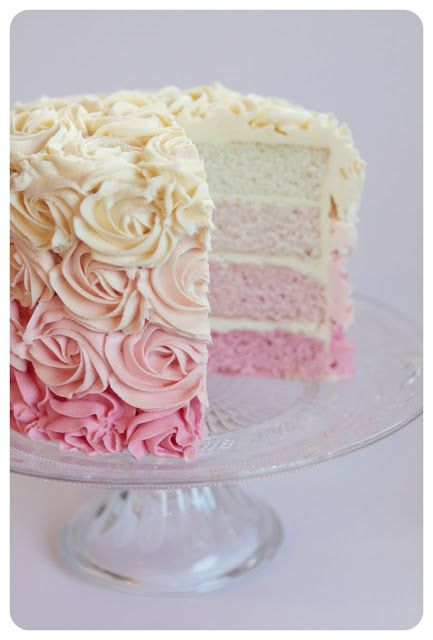 Sugar: Beautiful Pink Ombre Cake - no recipe but similar recipe here http://www.theidearoom.net/2012/07/ombre-cake.html