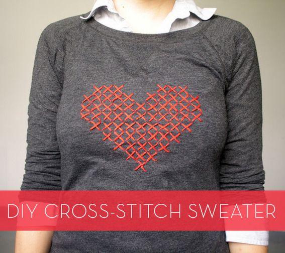 credit: Uber Chic For Cheap [http://www.uberchicforcheap.com/2012/10/diy-cross-stitch-heart-sweater.html]