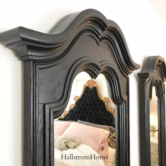 Black French country mirrors in a set of two are perfect for bathrooms as a double vanity mirror. These are solid wood mirrors glued into place for long lasting quality. We make custom wood shipping b